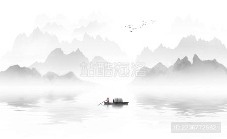 手绘新中式意境水墨山水画