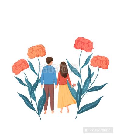 牵手的情侣走在花朵中清新插画