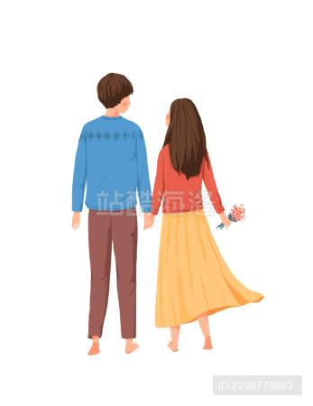 牵手的情侣走路背影清新插画素材