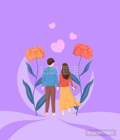 牵手的情侣走在甜美花朵的路上清新插画紫色