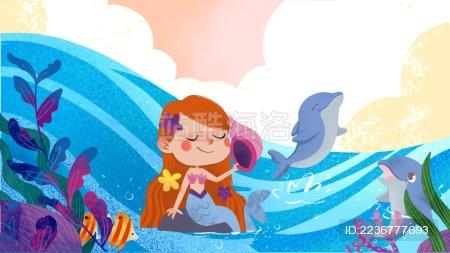 海洋动物海豚美人鱼唯美清新