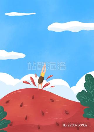 夏天小暑女孩跳入清凉西瓜游泳的创意插画
