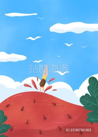 小暑节气女孩跳入清凉西瓜游泳的创意插画