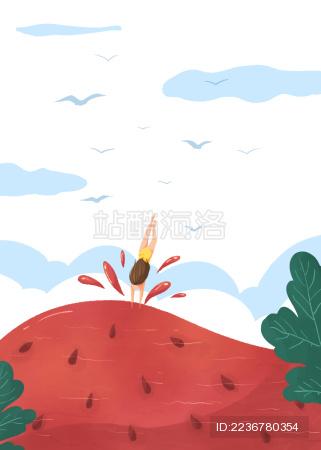 夏日小暑女孩跳入清凉西瓜游泳的创意插画白底鸟