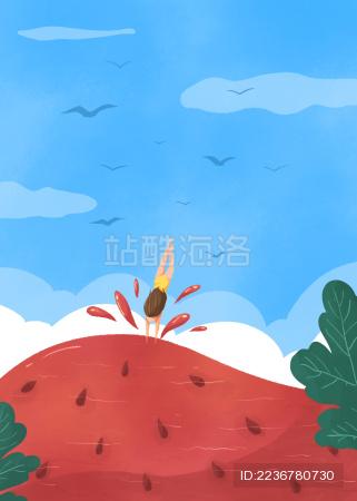 小暑节气女孩跳入西瓜游泳创意插画蓝色云和鸟