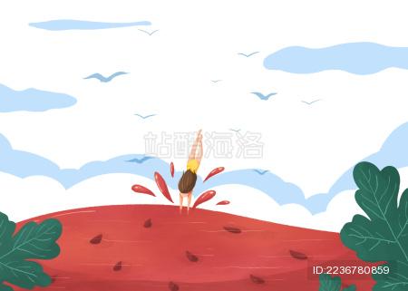 小暑节气女孩跳入西瓜游泳创意插画白底横版
