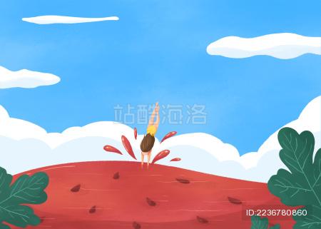 小暑节气女孩跳入西瓜游泳创意插画蓝天白云横版
