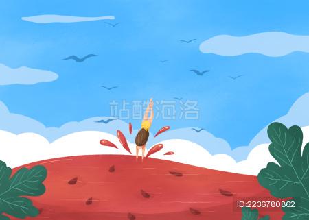 小暑节气女孩跳入西瓜游泳创意插画淡蓝色云和鸟横版