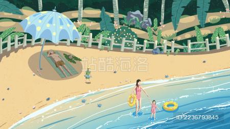 一家人一起到海边度过假期时光