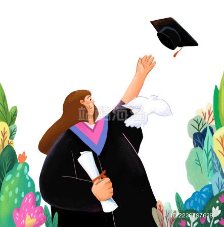 毕业季女生穿学士服抛学士帽