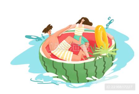 夏日炎热男生女生西瓜水上戏水