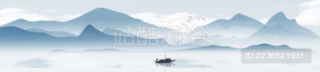 原创宽屏中国风意境水墨山水风景画