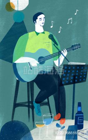 坐在高脚椅上弹唱的男子插画