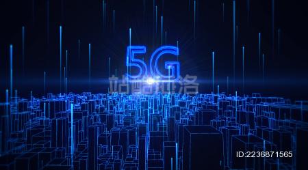 5G网络科技概念城市三维空间场景