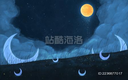 梦幻蓝色星空之夜散落的弯月插画背景