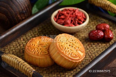 复古中国风背景上的中秋节美食月饼