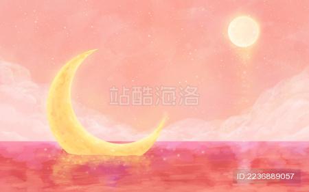水中的月亮粉红色梦幻唯美背景插画