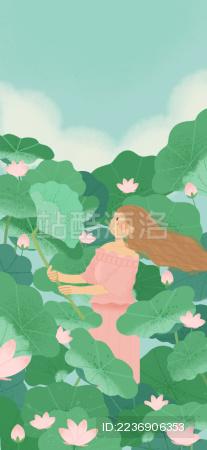 一个在夏日荷花池里的女孩