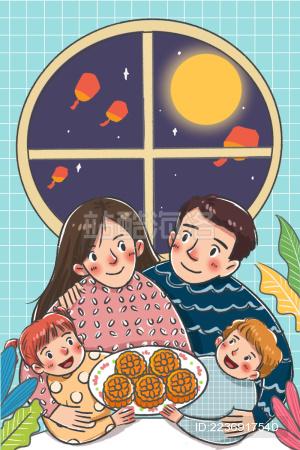 中秋节一家人团圆吃月饼赏月许愿