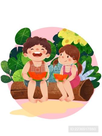 夏天儿童吃西瓜清新可爱欢乐童年插画