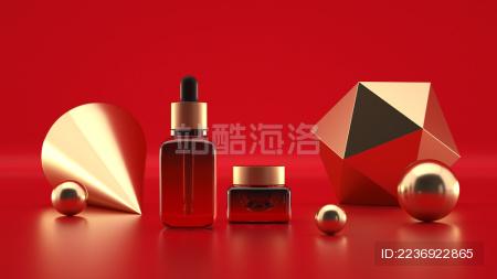 美容题材的护肤品 精华液和眼霜瓶子的广告场景 3d渲染