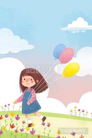 清新可爱女孩草地草原气球奔跑插画