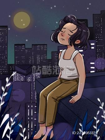 世界预防自杀日轻生压力大抑郁心理疾病插画