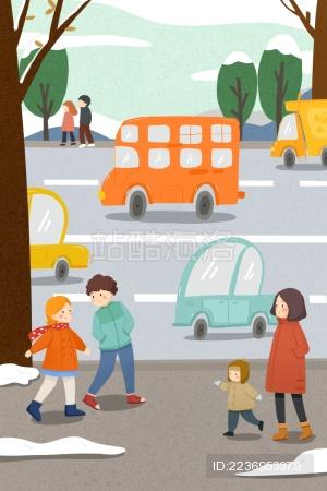清新可爱交通汽车行人遵守交通秩序插画