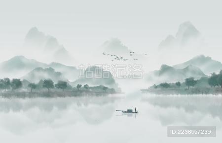 写意中国风淡雅意境水墨山水画