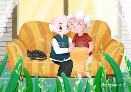 老年人夫妻在家中沙发上相拥 可爱风格重阳节老年人惬意生活插画