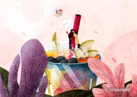 一对情侣在花簇后的水果茶上亲吻 旁边的爱神正准备将爱神之箭射向他们