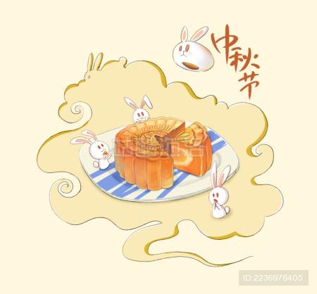 Jade Rabbit Eats Mooncakes on Mid-Autumn Festiva  中秋节一群小兔子在吃月饼