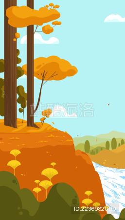 秋季有流水和枫树的郊外山林风景插画
