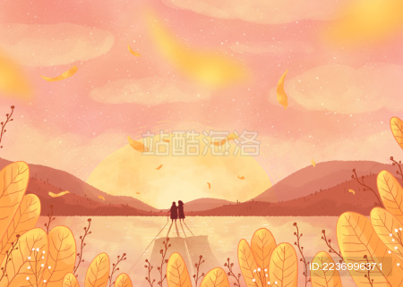 飘着花瓣粉色唯美天空下的母女温馨重阳节插画叶子