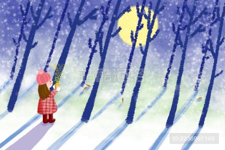 初雪的夜晚一个穿红格子衣的小女孩手捧着奶茶在树林里漫步