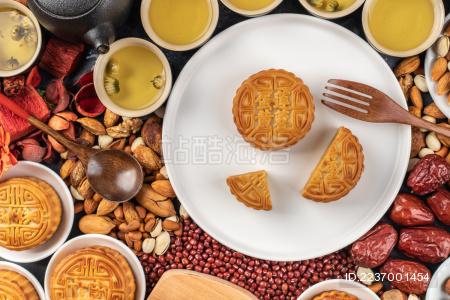 中国传统节日中秋节月饼特写