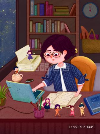 女老师深夜在书房办公室批改学生的作业