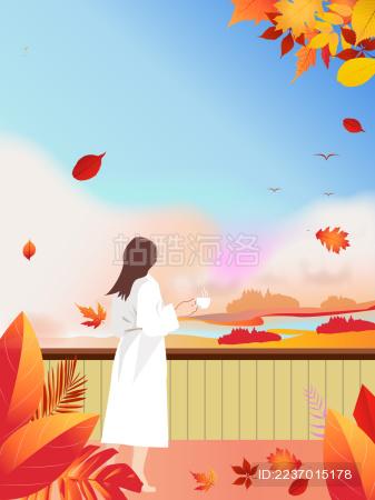 秋日里午后一位穿着睡袍的少女站在阳台上一边喝着咖啡一边欣赏远处的美景