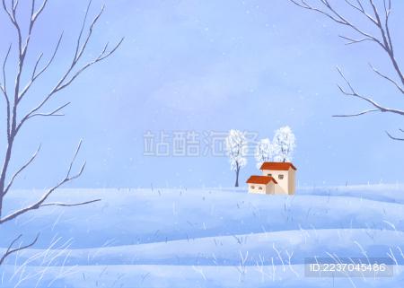 小雪节气户外冬天的雪地和房子景观清新插画横版