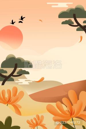 重阳节背景黄色菊花素材插画海报