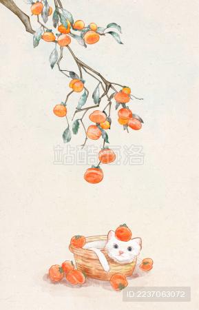 二十四节气霜降寒露柿子丰收猫咪
