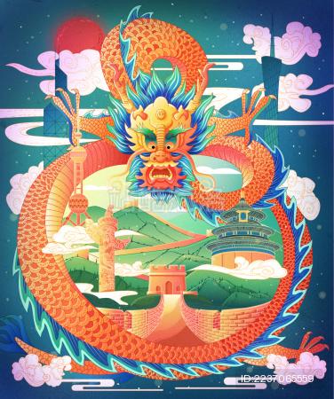 中国龙在空中飞翔龙身上有天坛长城华表等建筑国潮插画