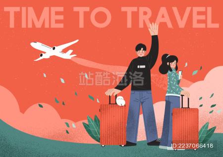 一个拉着行李箱的男人和一个拉着行李箱的女人