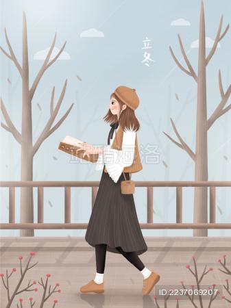 一个戴棕色帽子女孩在冬天拿着书本走在枯树枝旁的木桥上