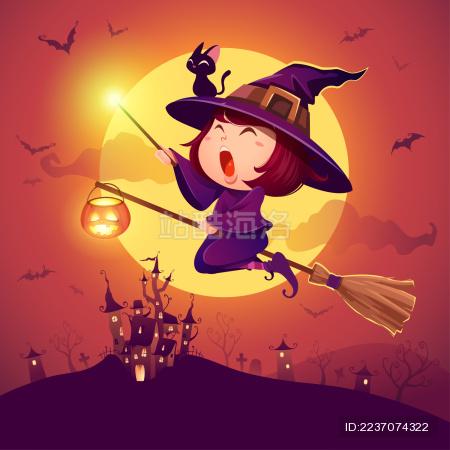 万圣节快乐。飞行小巫婆海报。