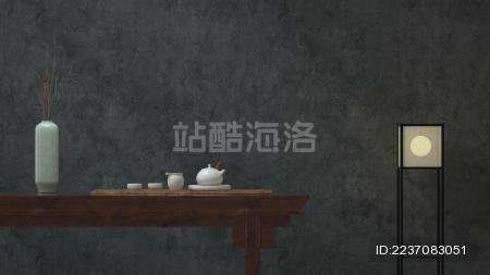 中国风题材的新中式家居和茶具套装 3d渲染