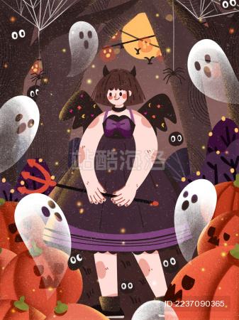 万圣节万圣夜化妆舞会派对创意插画南瓜灯小幽灵小恶魔蜘蛛网