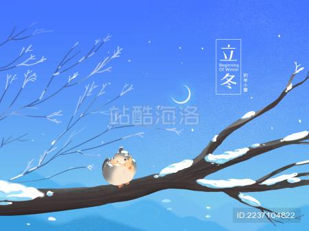 初冬小雪站在树枝上圆滚滚的小鸟