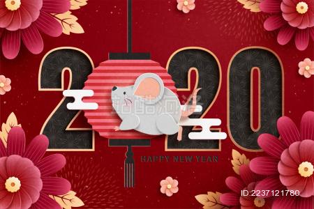 2020鼠年剪纸风可爱设计与花朵背景