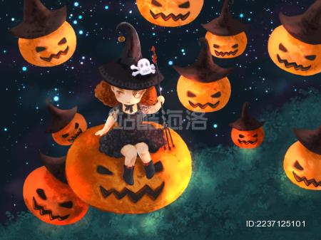 坐在南瓜灯上的小女巫万圣节插画